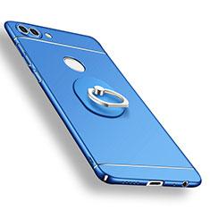Coque Plastique Housse Etui Rigide Mat avec Support Bague Anneau A02 pour Huawei P Smart Bleu