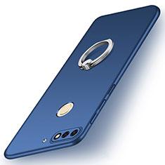 Coque Plastique Housse Etui Rigide Mat avec Support Bague Anneau A02 pour Huawei Y7 (2018) Bleu