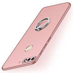 Coque Plastique Housse Etui Rigide Mat avec Support Bague Anneau A02 pour Huawei Y7 (2018) Or Rose