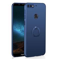 Coque Plastique Housse Etui Rigide Mat avec Support Bague Anneau A03 pour Huawei Honor 7C Bleu