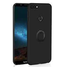 Coque Plastique Housse Etui Rigide Mat avec Support Bague Anneau A03 pour Huawei Y7 (2018) Noir