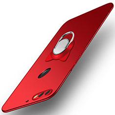 Coque Plastique Housse Etui Rigide Mat avec Support Bague Anneau A04 pour Huawei Honor 7C Rouge