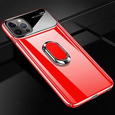 Coque Plastique Housse Etui Rigide Mat avec Support Bague Anneau Aimante Magnetique A01 pour Apple iPhone 12 Pro Rouge
