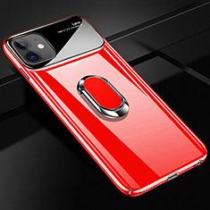 Coque Plastique Housse Etui Rigide Mat avec Support Bague Anneau Aimante Magnetique A01 pour Apple iPhone 12 Rouge