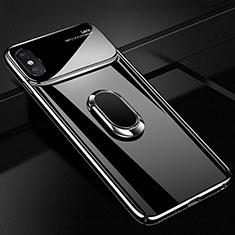 Coque Plastique Housse Etui Rigide Mat avec Support Bague Anneau Aimante Magnetique A01 pour Apple iPhone X Noir