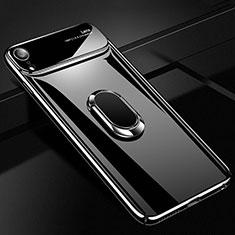 Coque Plastique Housse Etui Rigide Mat avec Support Bague Anneau Aimante Magnetique A01 pour Apple iPhone XR Noir