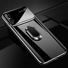 Coque Plastique Housse Etui Rigide Mat avec Support Bague Anneau Aimante Magnetique A01 pour Huawei Enjoy 10e Noir