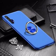 Coque Plastique Housse Etui Rigide Mat avec Support Bague Anneau Aimante Magnetique A01 pour Huawei Honor 20 Pro Bleu