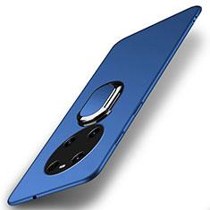 Coque Plastique Housse Etui Rigide Mat avec Support Bague Anneau Aimante Magnetique A01 pour Huawei Mate 40 Bleu