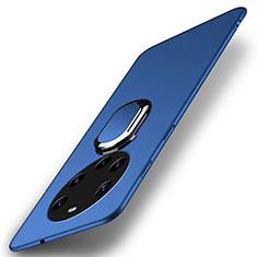 Coque Plastique Housse Etui Rigide Mat avec Support Bague Anneau Aimante Magnetique A01 pour Huawei Mate 40 Pro+ Plus Bleu
