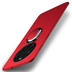 Coque Plastique Housse Etui Rigide Mat avec Support Bague Anneau Aimante Magnetique A01 pour Huawei Mate 40 Pro+ Plus Rouge