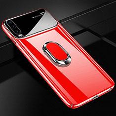 Coque Plastique Housse Etui Rigide Mat avec Support Bague Anneau Aimante Magnetique A01 pour Huawei P30 Rouge