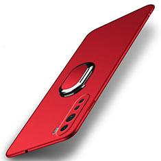 Coque Plastique Housse Etui Rigide Mat avec Support Bague Anneau Aimante Magnetique A01 pour OnePlus Nord Rouge