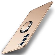 Coque Plastique Housse Etui Rigide Mat avec Support Bague Anneau Aimante Magnetique A01 pour Oppo Reno4 Pro 5G Or