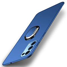 Coque Plastique Housse Etui Rigide Mat avec Support Bague Anneau Aimante Magnetique A01 pour Oppo Reno5 5G Bleu