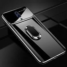 Coque Plastique Housse Etui Rigide Mat avec Support Bague Anneau Aimante Magnetique A01 pour Realme X Noir