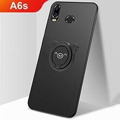 Coque Plastique Housse Etui Rigide Mat avec Support Bague Anneau Aimante Magnetique A01 pour Samsung Galaxy A6s Noir