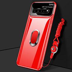 Coque Plastique Housse Etui Rigide Mat avec Support Bague Anneau Aimante Magnetique A01 pour Samsung Galaxy S10 5G SM-G977B Rouge