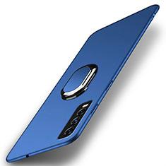 Coque Plastique Housse Etui Rigide Mat avec Support Bague Anneau Aimante Magnetique A01 pour Vivo Y30 Bleu