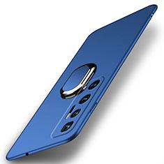 Coque Plastique Housse Etui Rigide Mat avec Support Bague Anneau Aimante Magnetique A01 pour Xiaomi Mi 10 Ultra Bleu
