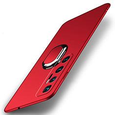 Coque Plastique Housse Etui Rigide Mat avec Support Bague Anneau Aimante Magnetique A01 pour Xiaomi Mi 10 Ultra Rouge
