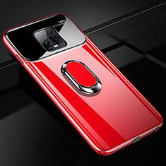 Coque Plastique Housse Etui Rigide Mat avec Support Bague Anneau Aimante Magnetique A01 pour Xiaomi Redmi 10X Pro 5G Rouge