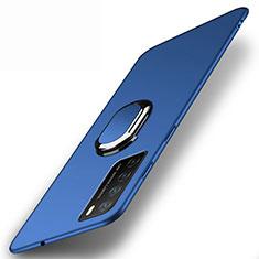Coque Plastique Housse Etui Rigide Mat avec Support Bague Anneau Aimante Magnetique P01 pour Huawei Honor Play4 5G Bleu