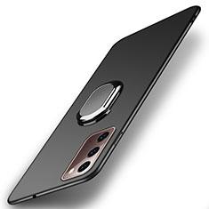 Coque Plastique Housse Etui Rigide Mat avec Support Bague Anneau Aimante Magnetique P01 pour Samsung Galaxy Note 20 5G Noir