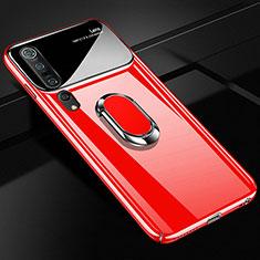 Coque Plastique Housse Etui Rigide Mat avec Support Bague Anneau Aimante Magnetique P01 pour Xiaomi Mi 10 Pro Rouge