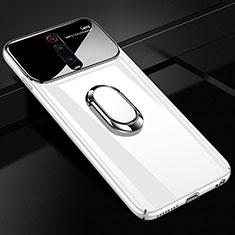 Coque Plastique Housse Etui Rigide Mat avec Support Bague Anneau Aimante Magnetique P01 pour Xiaomi Mi 9T Pro Blanc