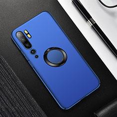 Coque Plastique Housse Etui Rigide Mat avec Support Bague Anneau Aimante Magnetique P01 pour Xiaomi Mi Note 10 Bleu