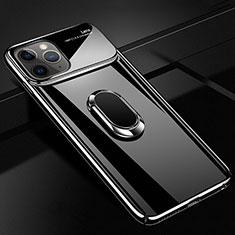 Coque Plastique Housse Etui Rigide Mat avec Support Bague Anneau Aimante Magnetique P02 pour Apple iPhone 11 Pro Max Noir