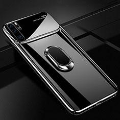 Coque Plastique Housse Etui Rigide Mat avec Support Bague Anneau Aimante Magnetique P02 pour Huawei P30 Pro Noir