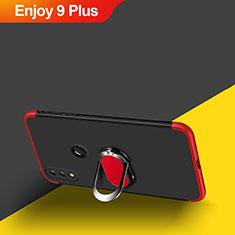 Coque Plastique Mat Protection Integrale 360 Degres Avant et Arriere avec Support Bague Anneau Aimante Magnetique pour Huawei Enjoy 9 Plus Rouge et Noir