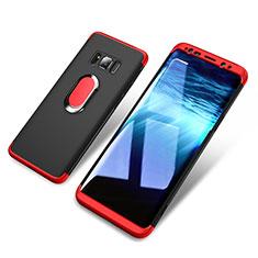 Coque Plastique Mat Protection Integrale 360 Degres Avant et Arriere avec Support Bague Anneau Aimante pour Samsung Galaxy S8 Plus Rouge et Noir