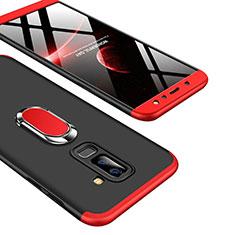Coque Plastique Mat Protection Integrale 360 Degres Avant et Arriere avec Support Bague Anneau Q01 pour Samsung Galaxy A6 Plus (2018) Rouge et Noir