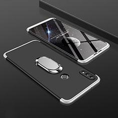 Coque Plastique Mat Protection Integrale 360 Degres Avant et Arriere Etui Housse avec Support Bague Anneau pour Huawei Enjoy 9 Plus Argent