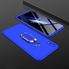 Coque Plastique Mat Protection Integrale 360 Degres Avant et Arriere Etui Housse avec Support Bague Anneau pour Huawei Enjoy 9 Plus Bleu