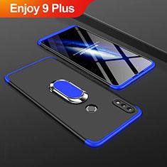 Coque Plastique Mat Protection Integrale 360 Degres Avant et Arriere Etui Housse avec Support Bague Anneau pour Huawei Enjoy 9 Plus Bleu et Noir
