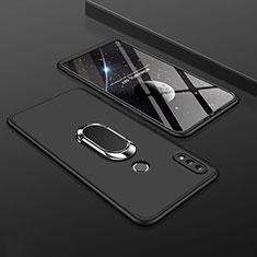 Coque Plastique Mat Protection Integrale 360 Degres Avant et Arriere Etui Housse avec Support Bague Anneau pour Huawei Enjoy 9 Plus Noir