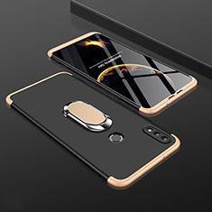Coque Plastique Mat Protection Integrale 360 Degres Avant et Arriere Etui Housse avec Support Bague Anneau pour Huawei Enjoy 9 Plus Or et Noir