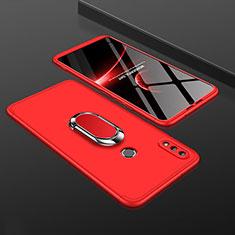 Coque Plastique Mat Protection Integrale 360 Degres Avant et Arriere Etui Housse avec Support Bague Anneau pour Huawei Enjoy 9 Plus Rouge