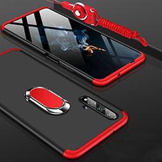Coque Plastique Mat Protection Integrale 360 Degres Avant et Arriere Etui Housse avec Support Bague Anneau pour Huawei Honor 20 Rouge et Noir