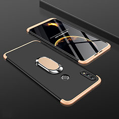 Coque Plastique Mat Protection Integrale 360 Degres Avant et Arriere Etui Housse avec Support Bague Anneau pour Huawei Y9 (2019) Or et Noir