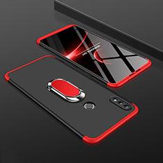 Coque Plastique Mat Protection Integrale 360 Degres Avant et Arriere Etui Housse avec Support Bague Anneau pour Huawei Y9 (2019) Rouge et Noir