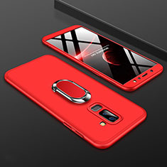 Coque Plastique Mat Protection Integrale 360 Degres Avant et Arriere Etui Housse avec Support Bague Anneau pour Samsung Galaxy A6 Plus (2018) Rouge