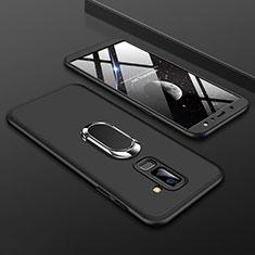 Coque Plastique Mat Protection Integrale 360 Degres Avant et Arriere Etui Housse avec Support Bague Anneau pour Samsung Galaxy A6 Plus Noir