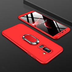 Coque Plastique Mat Protection Integrale 360 Degres Avant et Arriere Etui Housse avec Support Bague Anneau pour Samsung Galaxy A9 Star Lite Rouge