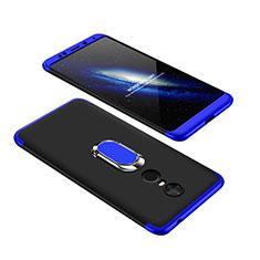 Coque Plastique Mat Protection Integrale 360 Degres Avant et Arriere Etui Housse avec Support Bague Anneau pour Xiaomi Redmi 5 Plus Bleu