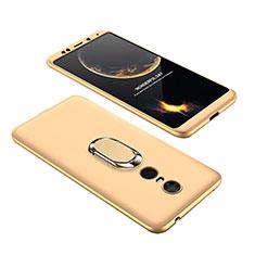 Coque Plastique Mat Protection Integrale 360 Degres Avant et Arriere Etui Housse avec Support Bague Anneau pour Xiaomi Redmi 5 Plus Or